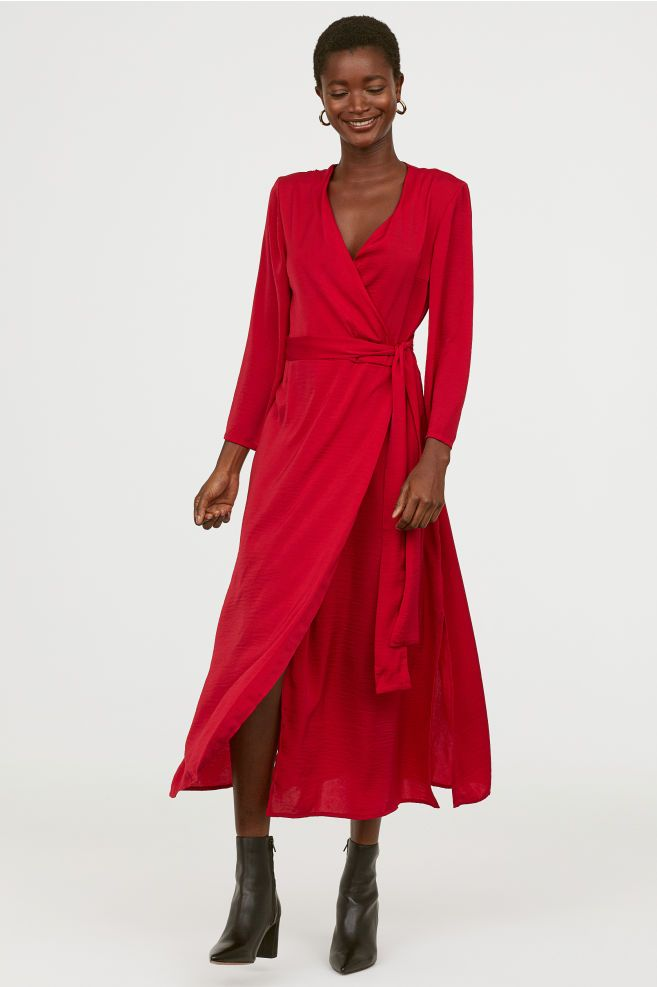 620ac265a34 Long Satin Dress - Dark red - Ladies