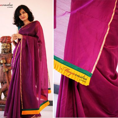 Chanderi silk in berry purple, with small pleats of contrast colour on the pallu
