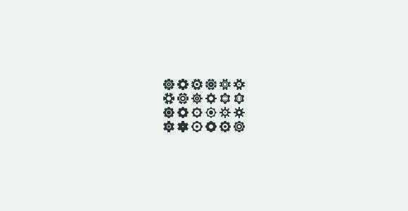 24 settings wheel icons PSD