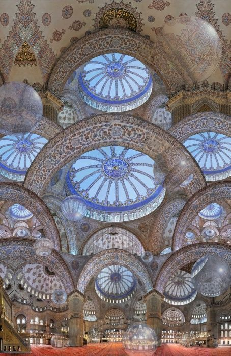 "Inside of the magnificent view of ""Blue Mosque"" built in 17th Century Istanbul - Turkey."