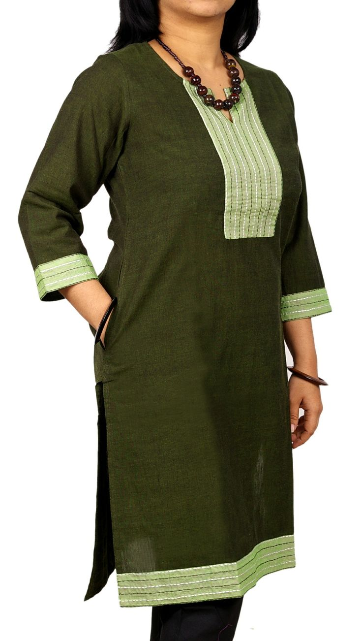 An olive green corporate kurta for business meetings.
