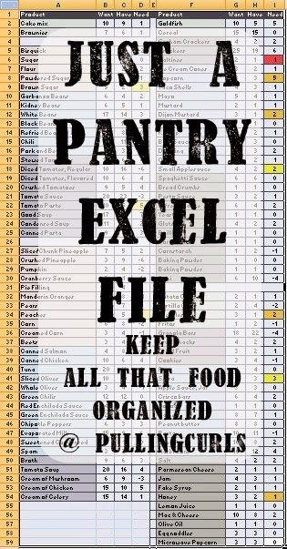 How I organize my pantry with an excel spreadsheet. I check my pantry every 6 weeks or so to see what needs to go on the grocery list.