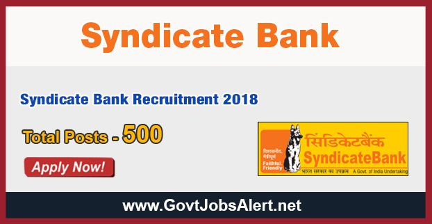 Syndicate Bank Recruitment 2018 - Hiring for 500 Post Graduate Diploma Posts: Apply Now !!!  The Syndicate Bank Recruitment 2018 has released an official employment notification inviting interested and eligible candidates to apply for the positions of Post Graduate Diploma. The eligible candidates may apply online through the official website (given below). The Closing date for apply of Syndicate Bank Recruitment 2018 is on or before January 17, 2018.   #2018 #bankjobs #f