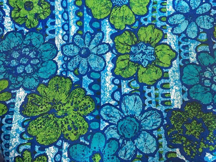 Vintage 1970s Mod Blue Green Flower Power Wallpaper Full Roll United Desoto  | eBay