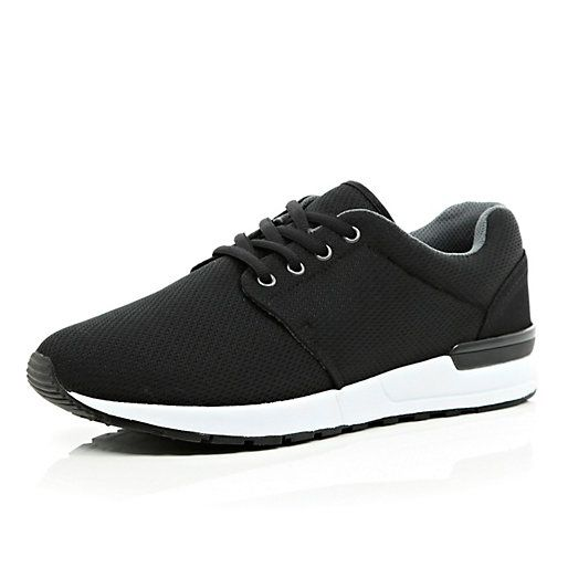 Black mesh thick sole trainers - trainers / high tops - shoes / boots - men