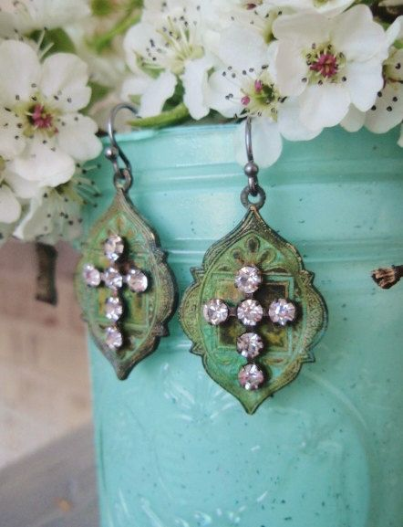 Rustic Rhinestone cross earrings Moroccan Soul  green aqua turquoise color sparkily crystal cross, religious , lightweight bohemian chic
