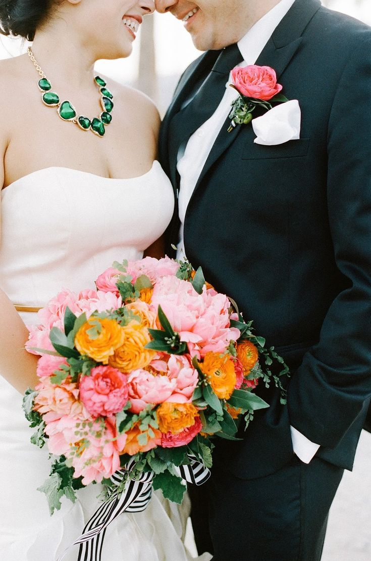 25 swoon worthy spring amp summer wedding bouquets tulle amp chantilly - Vibrant Bridal Bouquet With Garden Roses Peonies Dahlias And Ranunuculus With Greenery Black