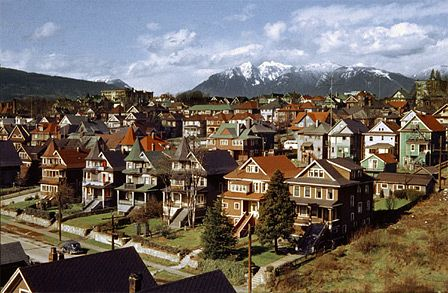 Vancouver's West End (pre-highrises) taken in 1957 from Burrard Bridge by Fred Herzog