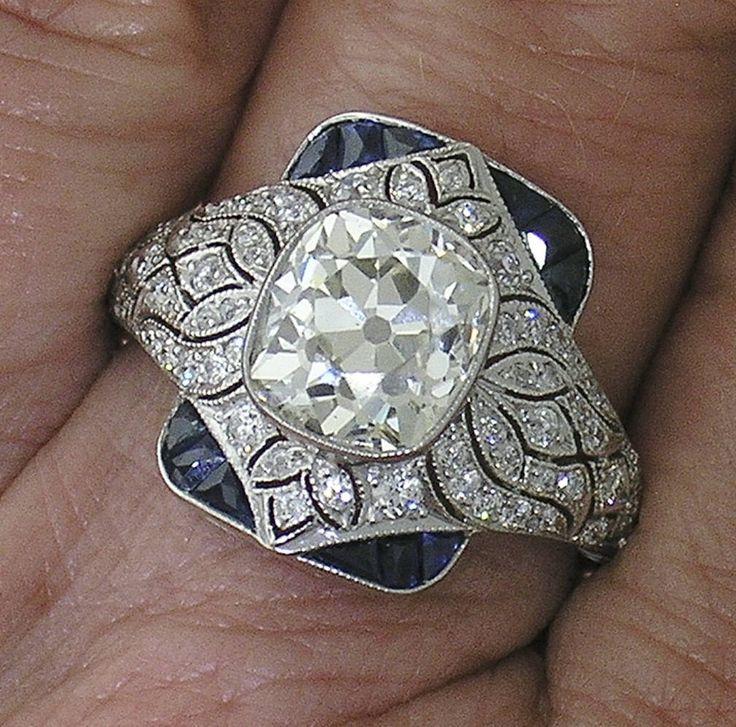 CUSHION DIAMOND Ring~2.63ct Cushion Diamond in Platinum Diamond Mounting by myvintagediamondring on Etsy https://www.etsy.com/uk/listing/527103686/cushion-diamond-ring263ct-cushion
