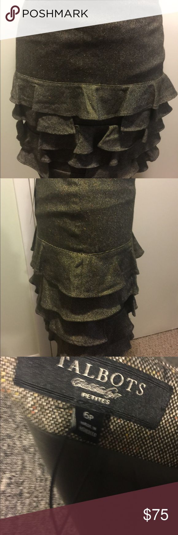 Flash Sale Wool Tweed Mini Skirt w/Ruffles Sz 6P NWT! This tweed wool blend Skirt from Talbots is a stunning unique piece. The colors of the tweed are light Olive, with some pale yellow and earth reds woven into it. Truly rare and gorgeous timeless piece. My photos don't do it justice. Skirt has a side zipper and it is fully lined. The lining is a beautiful darker Olive color size 6P. Talbots Skirts Mini