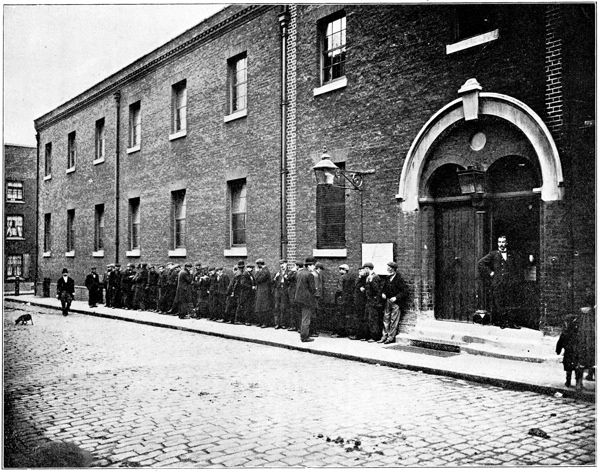Before Whitechapel Workhouse in Vallance Rd. Photo by Jack London - People of the Abyss - 1902.
