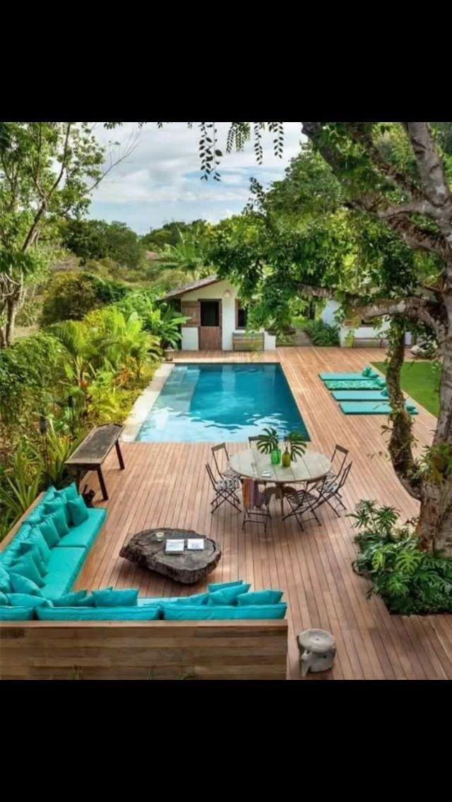 Above Ground Pool With Build Around Wood Panel Deck Backyard Outdoor Living Backyard Pool