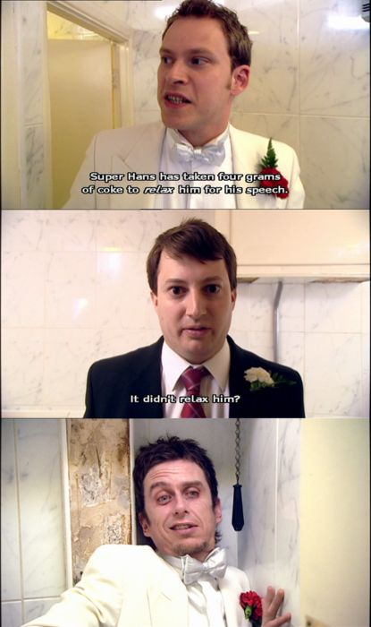 super hans at mark's wedding [peep show]