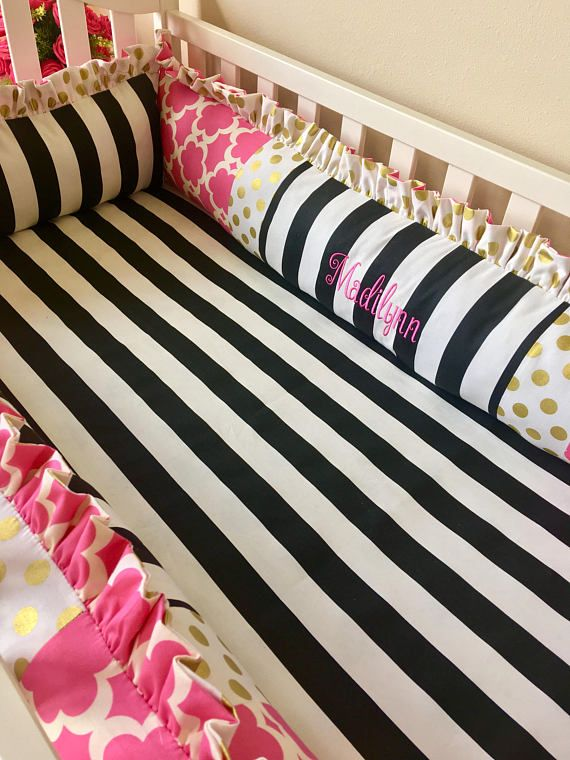 Girl Crib Bedding Baby Girl Crib Sets Hot Pink and Gold Dot