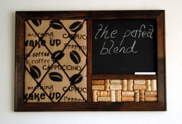 Coffee Burlap French Memo Board, Wine Corkboard & Chalkboard Kitchen Organizer by KaiHinaCoastal on Etsy https://www.etsy.com/listing/162975508/coffee-burlap-french-memo-board-wine