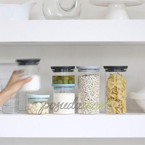 Модульная стеклянная банка 0 л стекло/пластик темно-серый серия Контейнеры для продуктов Brabantia 298301 с доставкой - Posudamart.Ru