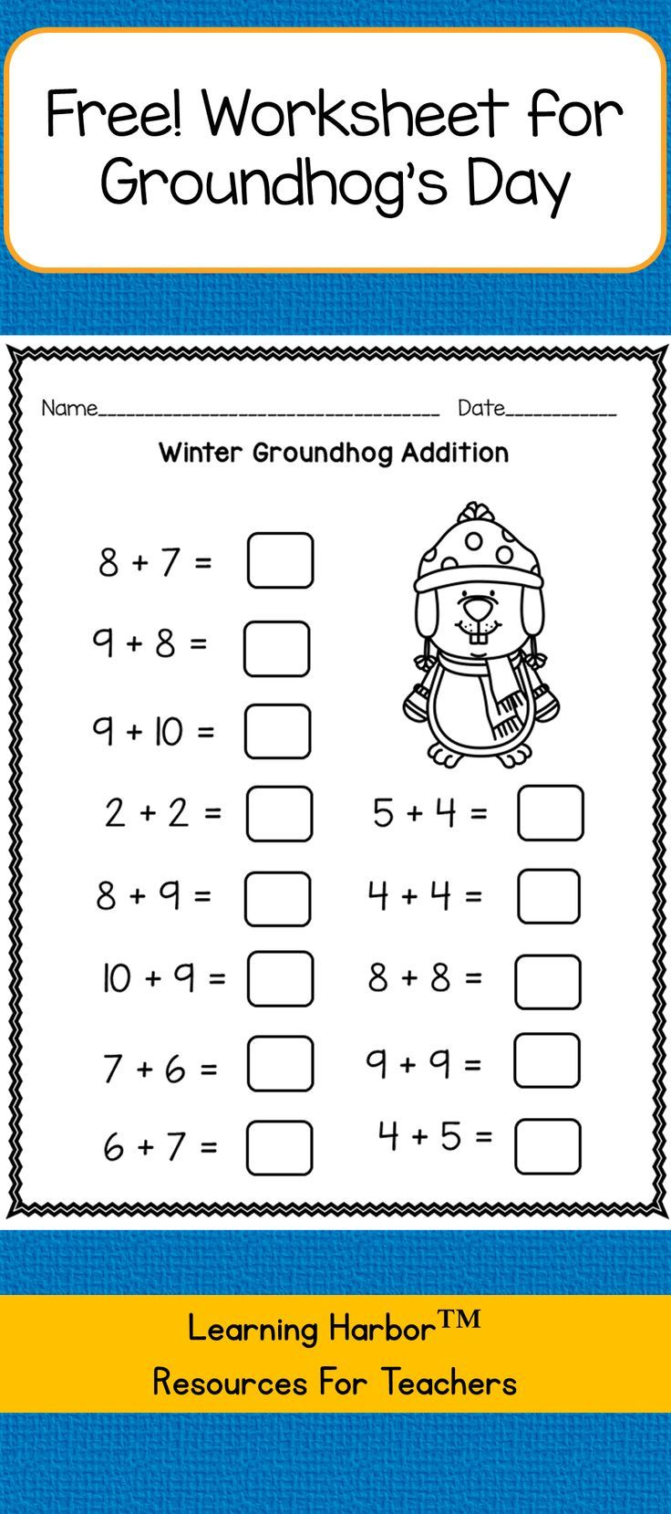 Free Groundhog Day mixed addition and subtraction within 20 worksheet.  Download PDF [ 1659 x 736 Pixel ]