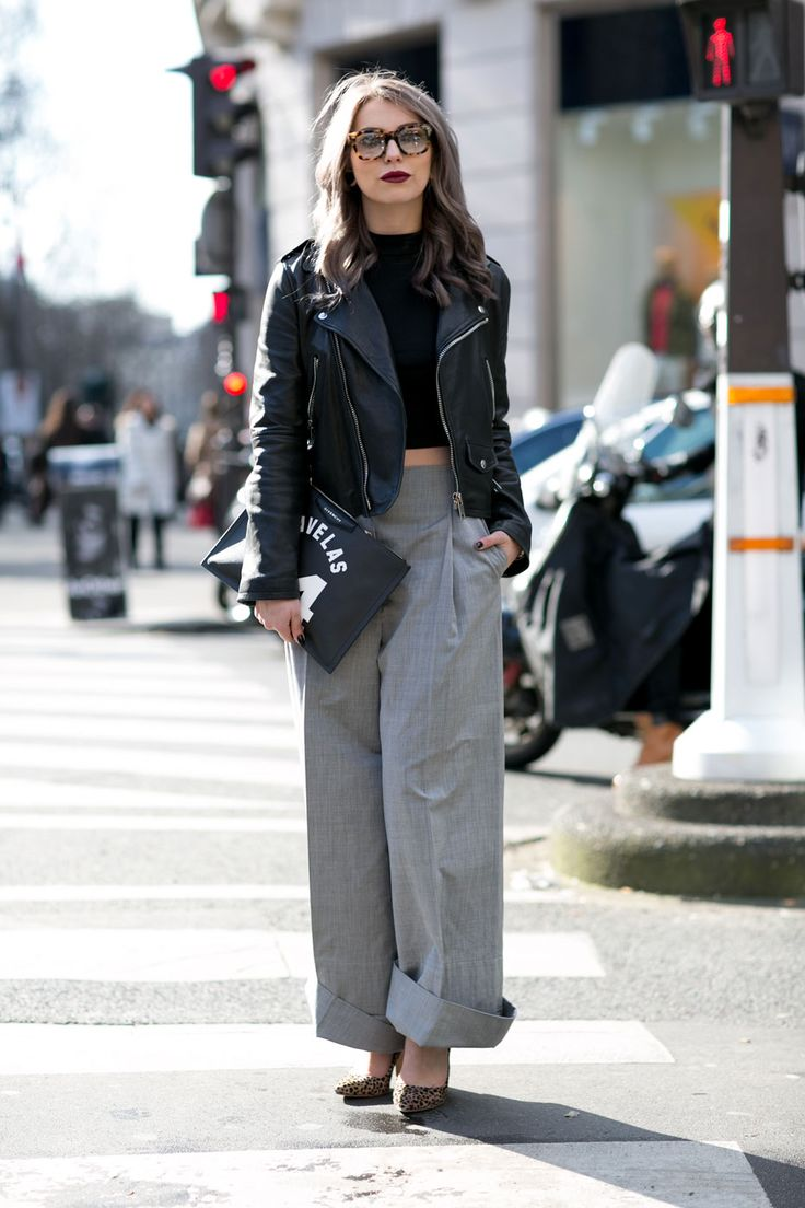 theStyleShake | Fashion / Street Style / Outfit Inspiration | wide leg grey trousers and black leather biker jacket in Paris