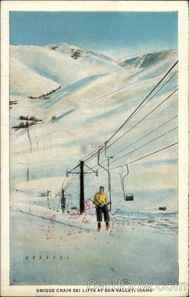 Unique Chair Ski Lifts at Sun Valley, Idaho  State: Idaho (ID)  City: Sun Valley  Type: Linen  Stamp: 1c   Postmark/Cancel: 1940 May-20
