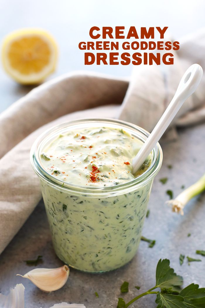 All-Purpose Creamy Green Goddess Dressing and Dip - Fit Foodie Finds