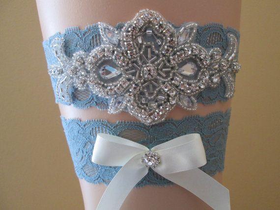 Powder Blue Wedding Garter Set, Blue Lace Bridal Garter, Antique Blue Prom Garters w/ Bling, Rhinestones, Rustic, Vintage, Something Blue