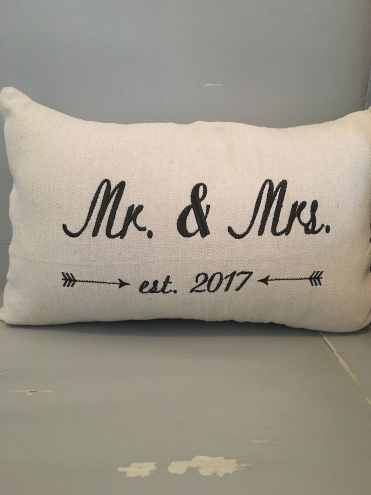 Wedding date lumbar size pillow on canvas fabric by Embroiderystiches on Etsy