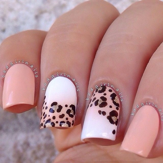Peach with leopard print swipe #trythisnail