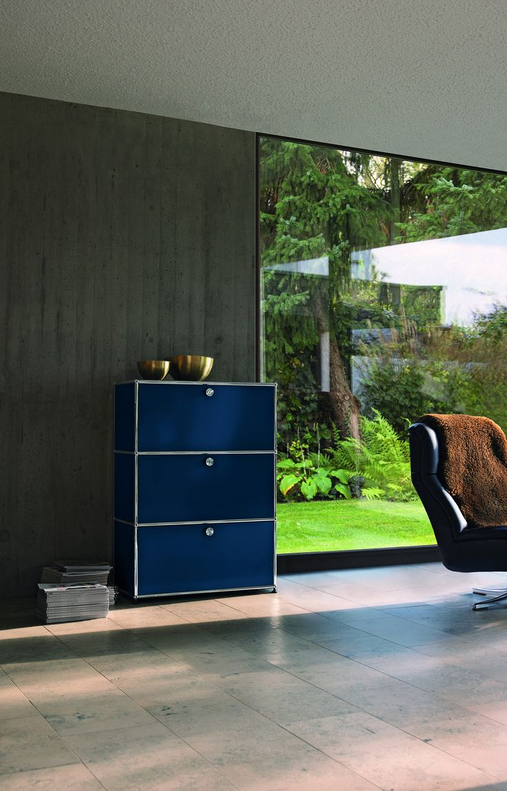 From my living room greenpoint works acapulco chair in leather meets - Usm Haller Shelving In Steel Blue Www Usm Com Living Room