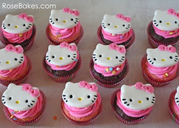 Hello Kitty Cakes And Cupcakes   These were super simple to put together! I used a Hello Kitty Cookie ...