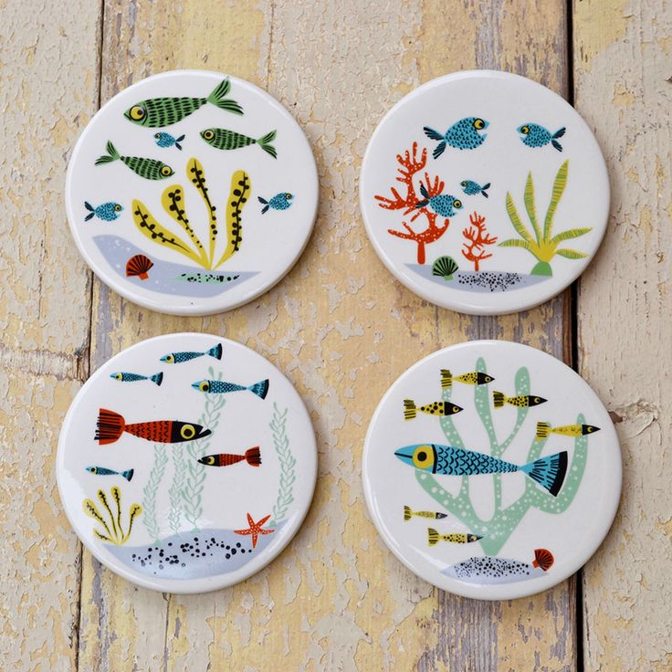 Fish ceramic coasters £18.99 part of Hannah's new fish collection.