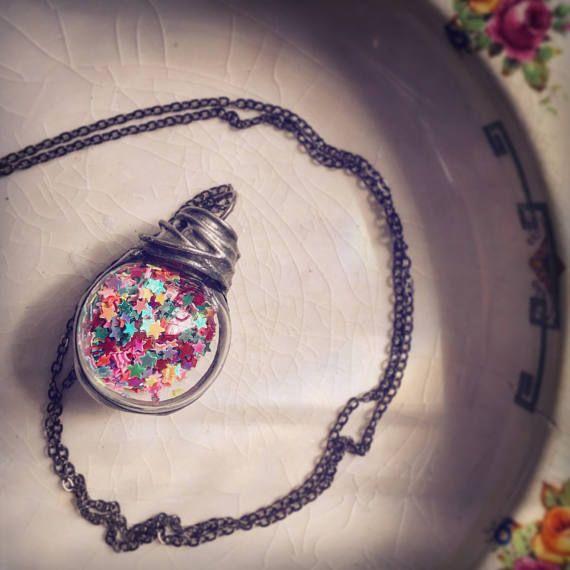 RESERVED for Sonia Matharu Virdi : Handmade Multi Colour Gitter Glass Globe Pendant