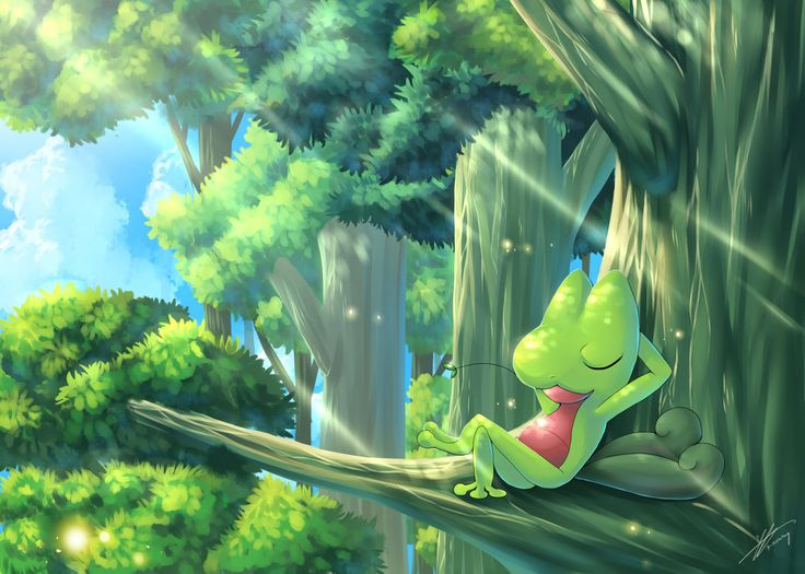 Pokemon : Time for a nap by R-nowong.deviantart.com on @DeviantArt (Treecko)