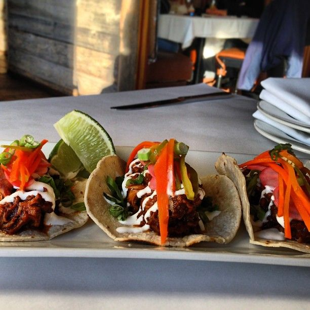 Besito Special Taquitos De Pato Three Small Duck Tacos Topped With Pipian Rojo And