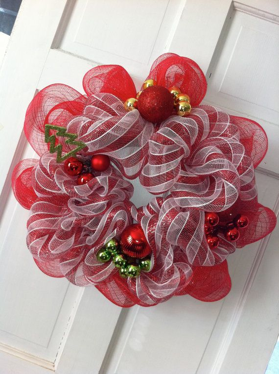 Christmas Deco Mesh Wreath - Red Candy