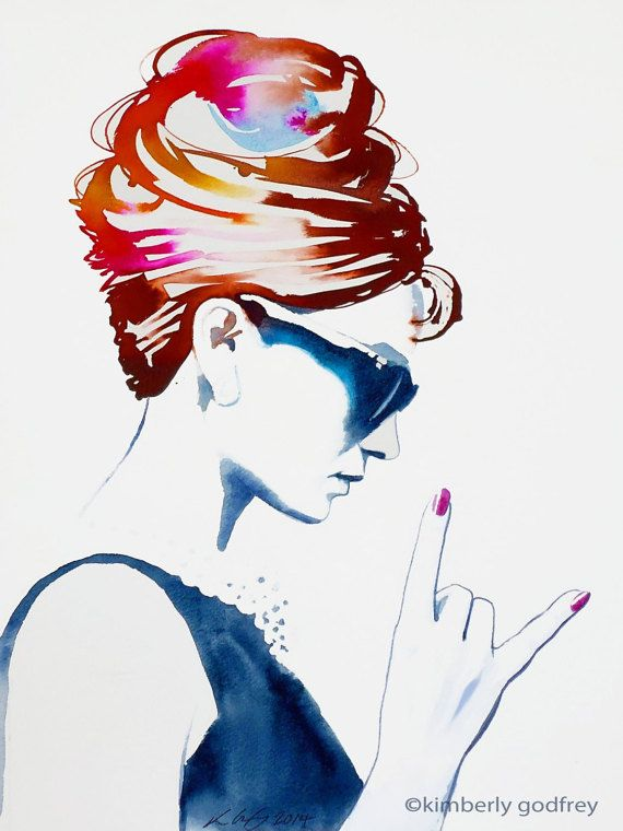 Audrey Rocks Art Print Original Painting Audrey Hepburn Fashion Illustration…