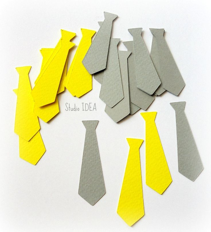 """50 Grey & Yellow Tie  2"""" Cut outs, Confetti - Set of 50 pcs- or Choose your Colors by StudioIdea on Etsy"""