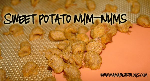 Sweet potato num-nums (faux puffs) for baby. Homemade baby finger food. Sweet Potato Num-Nums Ingredients: 3/4 c. mashed sweet potato 3 tbsp. vegetable oil 3 tbsp. water 1 tbsp. brown sugar 1 tsp. cinnamon 1 c. baby cereal 1/2 c. flour