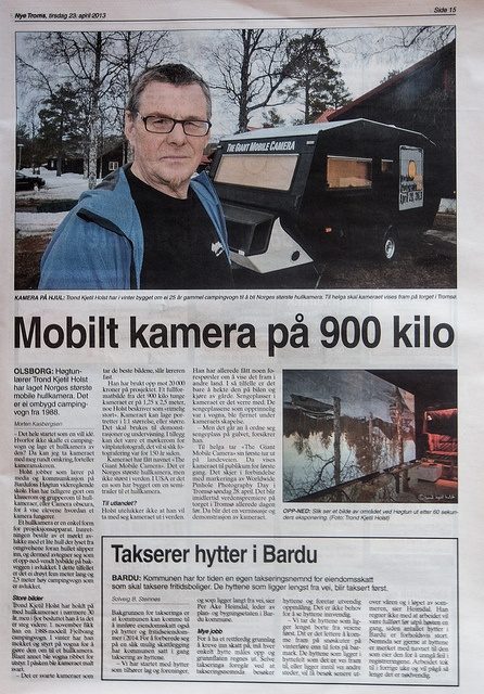 The Giant Mobile Camera in the local newspaper, and ready for wppd 2013.