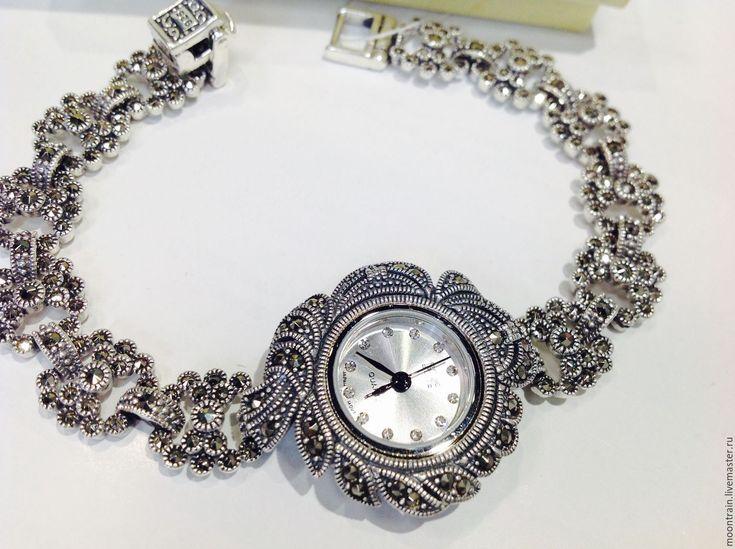 Купить Часики с марказитами серебро 925 - серый, часы белые, белые часы, часы необычные