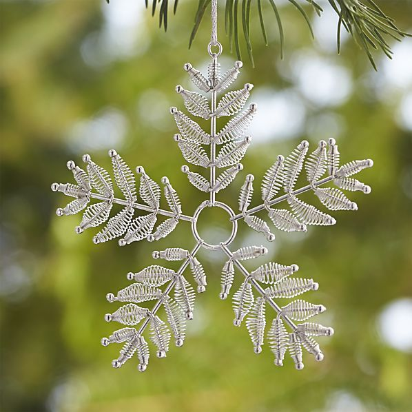 Metal Spring Silver Snowflake Ornament  | Crate and Barrel