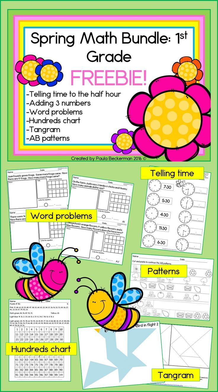 spring math bundle for first grade freebie telling time
