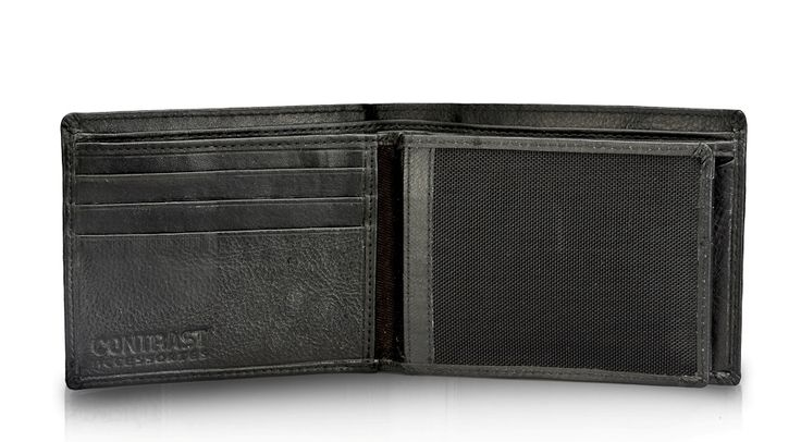 Contarst hand stitched Solid Black color Genuine Leather Wallet! A modern take on a classic favourite. -5 card slot -2 Note section -2 Net photo ID and card holder -2 currency sections  Contrast Stylish wallet combines all the qualities of traditional craftsmanship with contemporary design!Has snap closure coin pocket! Although it is compact and slim, you'll find ample space for notes and cards and a hidden transparent window for your ID!