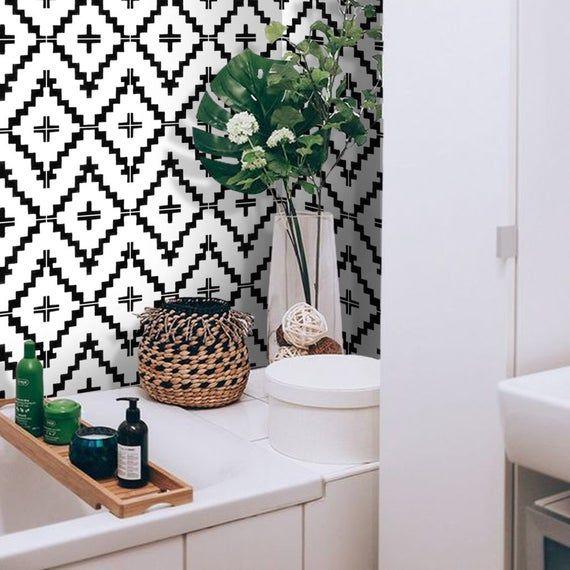 Kitchen And Bathroom Splashback Removable Vinyl Wallpaper Etsy Boho Bathroom Vinyl Tile Bathroom Trends