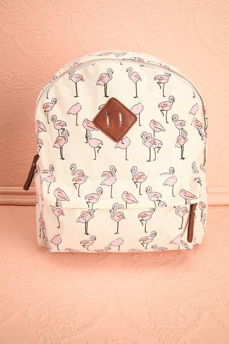L'observation de la faune aviaire cubaine est une activité des plus rafraîchissantes.  To observe the birds of the Cuban wildlife is a refreshing activity. White and pink flamingos patterned backpack www.1861.ca