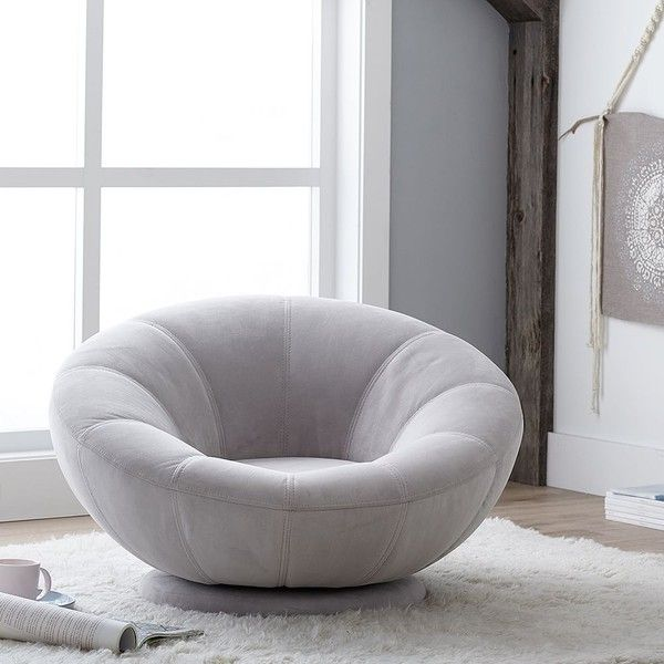 PB Teen Velvet Groovy Swivel Chair, Gray ($399) ❤ liked on Polyvore featuring home, furniture, chairs, accent chairs, pbteen, grey furniture, gray accent chair, swivel occasional chairs and swivel chairs