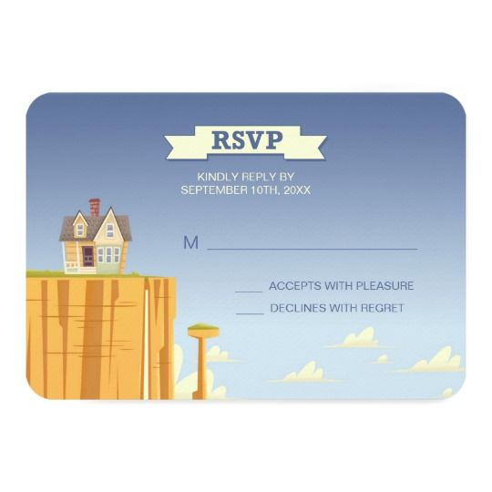Along with your save the date cards you'll want to send out RSVP cards so you can have a tally of your guests and start putting together a seating chart. This beautiful RSVP card features the house from Up sitting on a plateau.