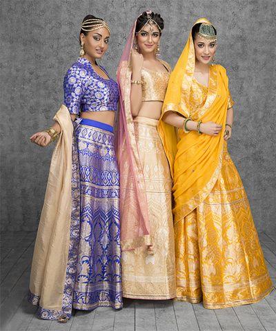 Sister of the Bride - Brocade Banarasi Lehengas for the Sister of the Brides | WedMeGood #wedmegood #indianbride #indianwedding #sisterofthebrideoutfits #banarsi #yellow #blue #pink #lehengas