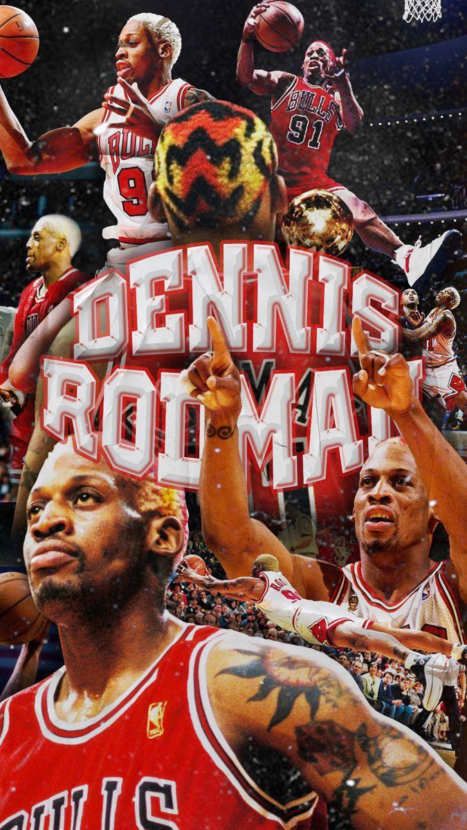 Dennis Rodmen With Text Chicago Bulls Wallpaper Dennis Rodman Wallpaper Dennis Rodman 90s Wallpaper