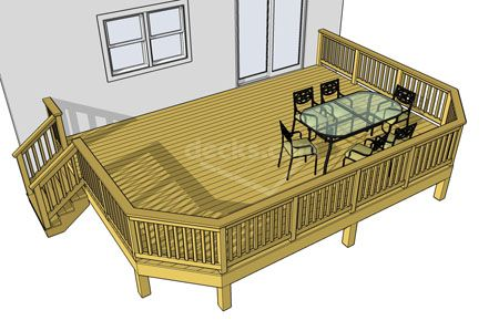 We have 32 different deck plans sizes of this particular design.  Basic with clipped corners.  We have sizes that start at 10x10 all the way up to 24x16.  Download any or all the free deck plans now.