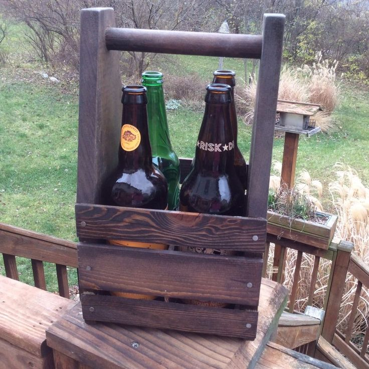 Rustic Craft Beer Caddy, 4 Pack Size Beer Crate BC200-135 #HildasFurnishings